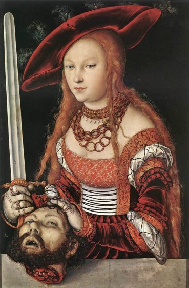 "A full view of the beautiful painting.Lucas Cranach the Elder, ""Judith with the Head of Holofernes"", ca 1530"