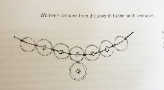 """Reconstruction of a ring and bead necklace, based on grave-goods from Winnal, Winchester, Hampshire"" Quote from ""Dress in Anglo-Saxon England"" by Gale R. Owen-Crocker, p. 145."