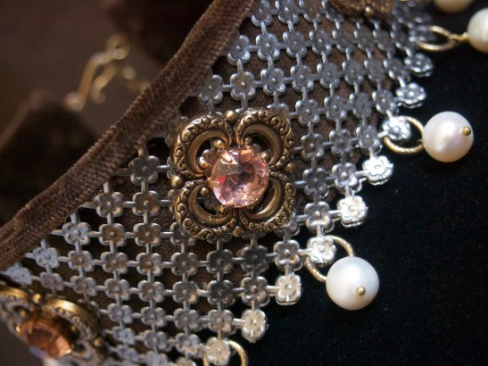 Detail photo, the salmon colored vintage crystals are  just beautiful.