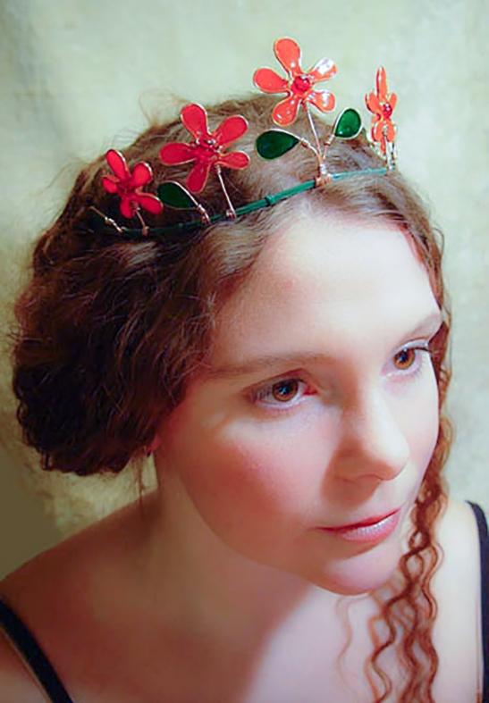 malin red flower tiara